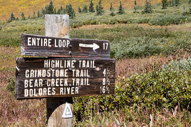 Trail sign of the CO trail with distances