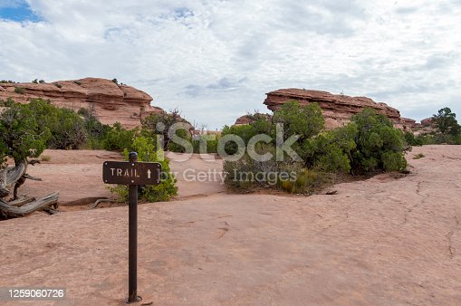 This photo shows a trail sign during a hike to Delicate Arch in Arches National Park, Utah, USA.  The sign is embedded into the sandstone surface which is part of the path.
