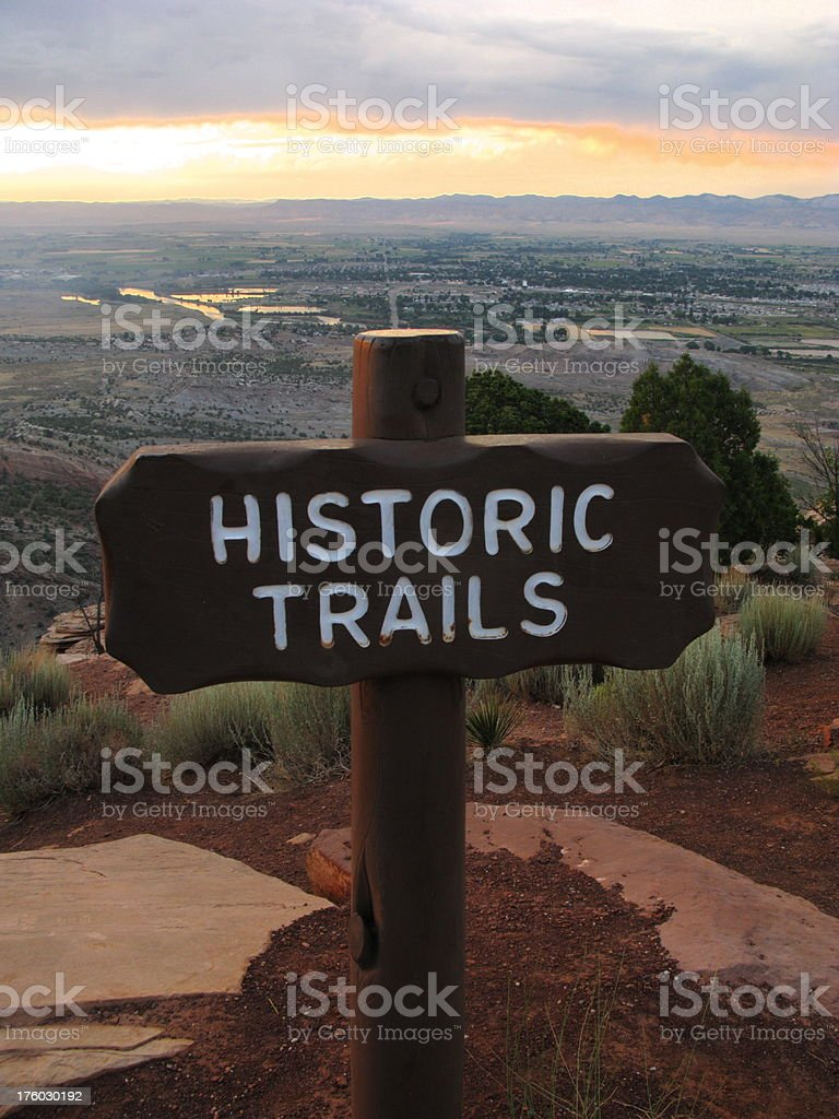 Trail Sign Sunset Alpenglow Historic royalty-free stock photo