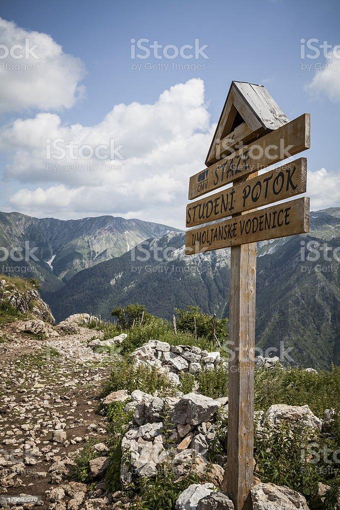 Trail Signpost, Bosnia and Herzegovina royalty-free stock photo