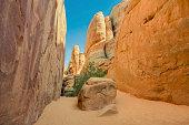 A trail throug sandstone rocks in Arches Nationl Park, Utah