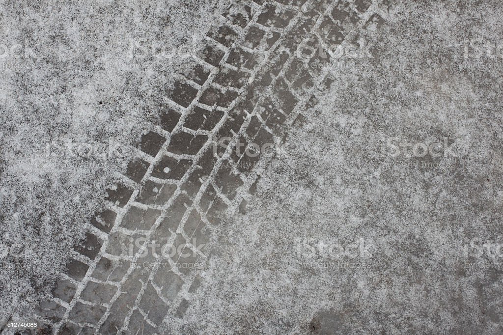Trail tires on ice stock photo