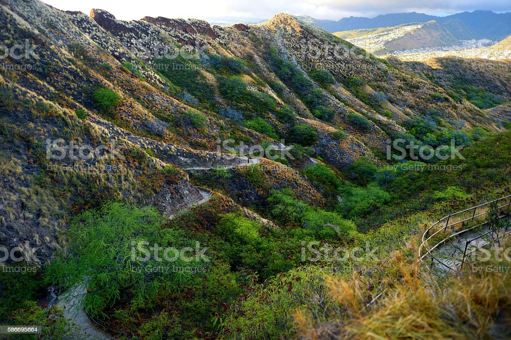 Trail to Diamond Head crater viewpoint on Oahu stock photo