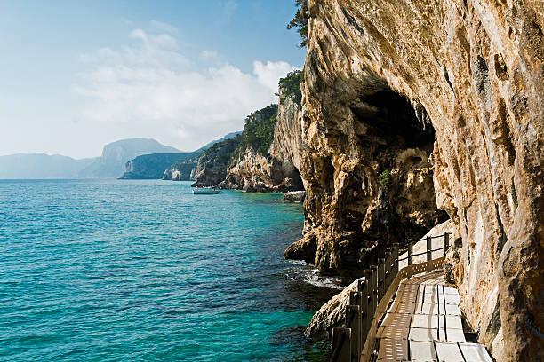 Trail to Grotta del Bue Marino stock photo