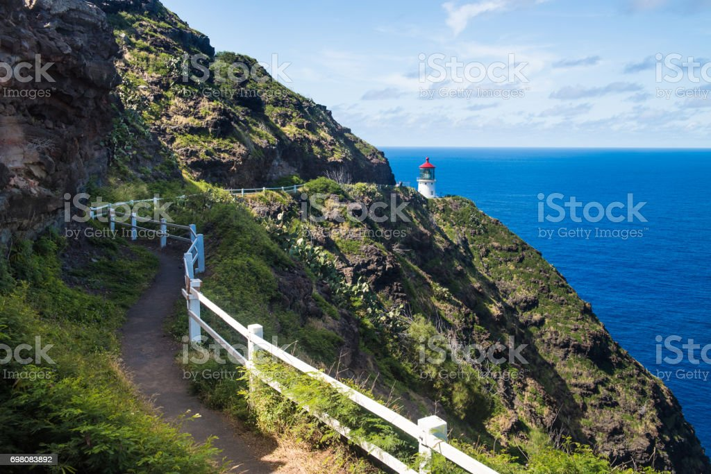 Trail to Makapu'u Point Lighthouse, Oahu, Hawaii stock photo