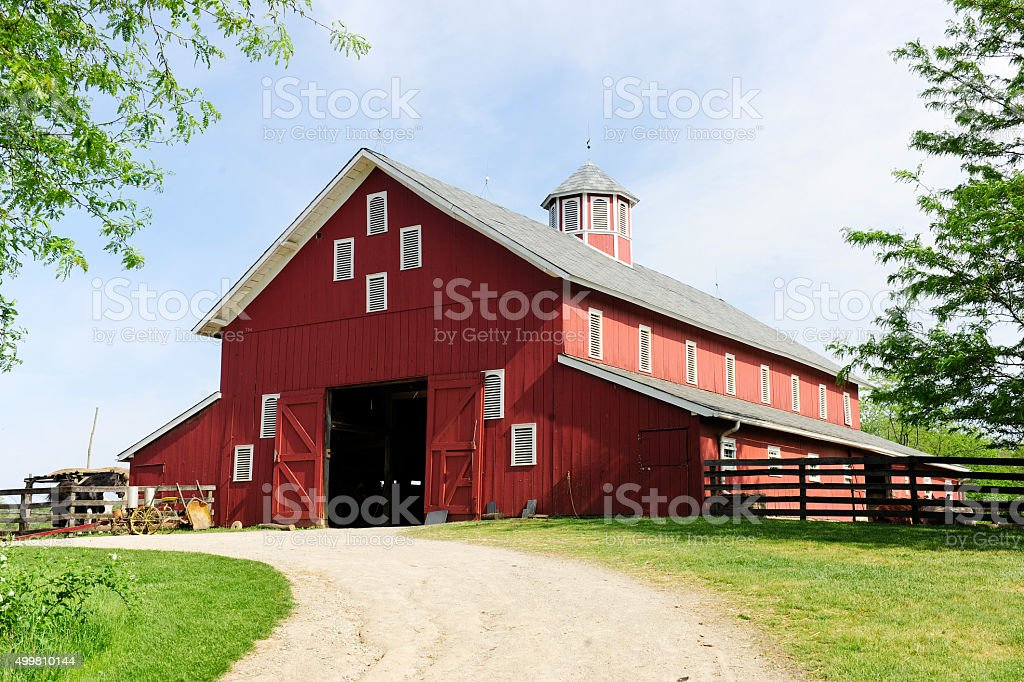Trail to the Big, Red Barn stock photo