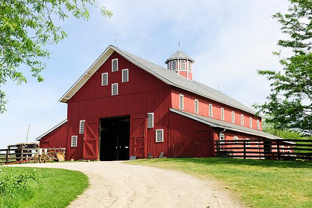 Trail to the Big, Red Barn A springtime image taken on the trail leading to the open doors of a big red barn on a sunny day. barn stock pictures, royalty-free photos & images
