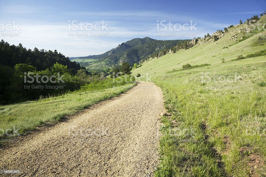 Trail to the Flatirons in Boulder Colorado stock photo