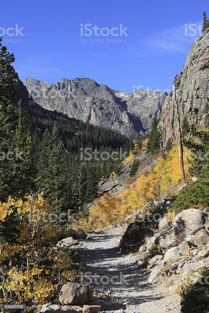 Trail to The Loch, Rocky Mountain National Park, Colorado stock photo