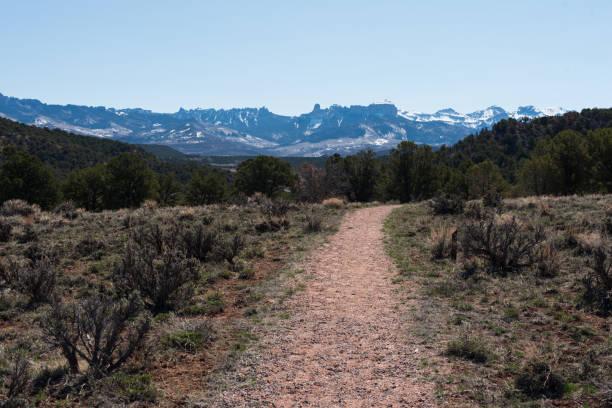 Trail toward the Courthouse Range stock photo