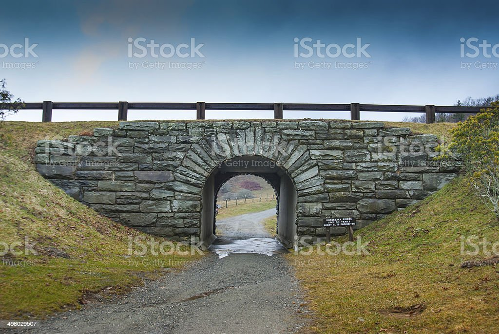 Trail Tunnel Under Blue Ridge Parkway stock photo