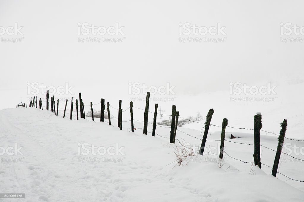 Sentier sous la neige stock photo