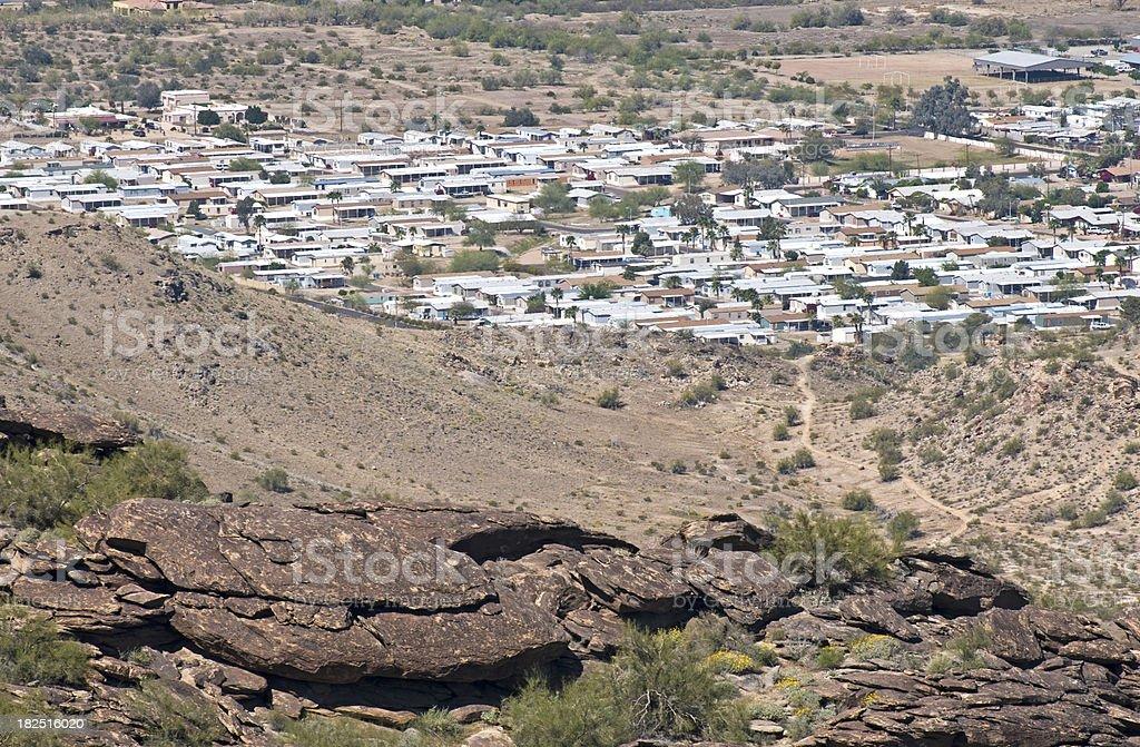 Trailer camp in desert royalty-free stock photo