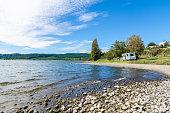 Trailer caravan in Lake Taupo,New Zealand.