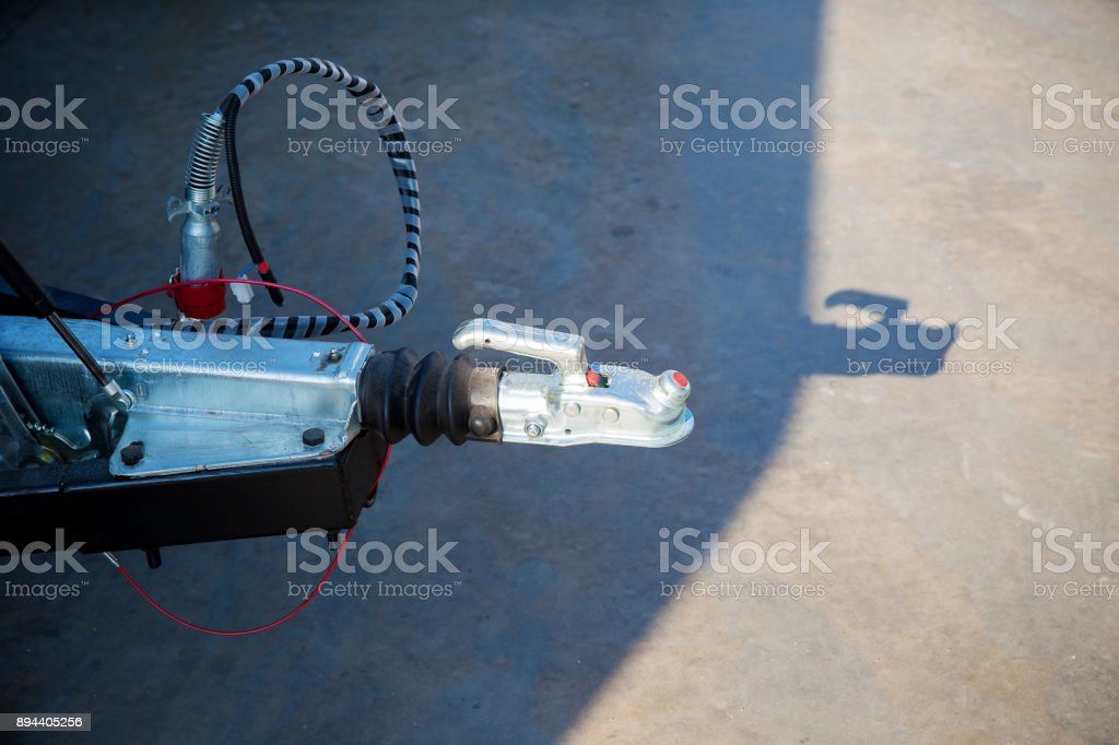 Trailer hitch or towbar on the car. stock photo