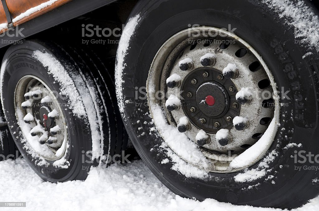 trailer in snow royalty-free stock photo