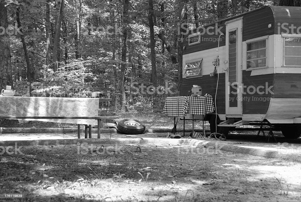 Trailer in woods stock photo