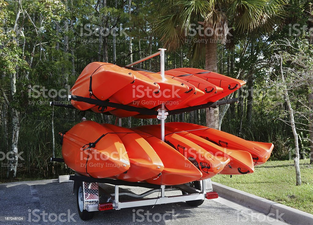Trailer load of kayaks royalty-free stock photo