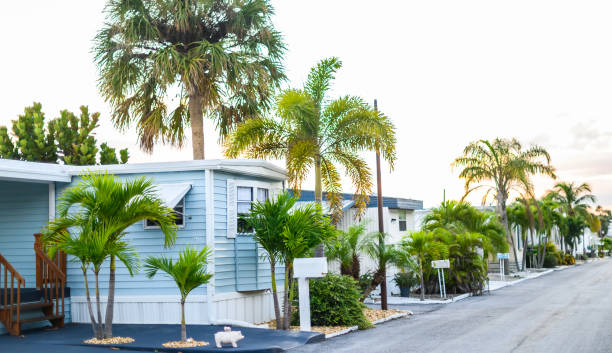 Trailer mobile homes in a sunny suburban community neighborhood stock photo