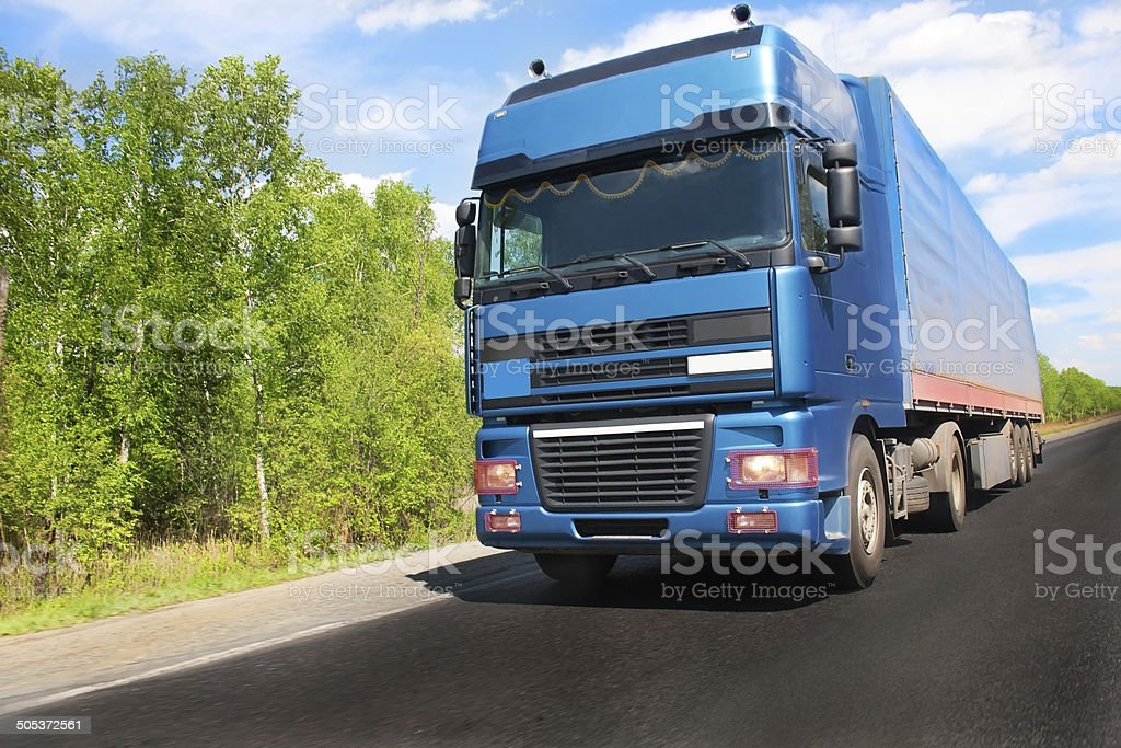 Trailer on country road royalty-free stock photo
