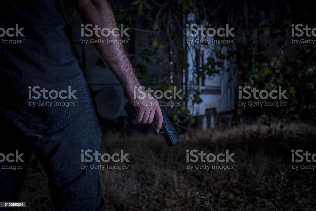 Trailer Park Killer Trailer Park Killer Stalking His Next Victims Camping Stock Photo