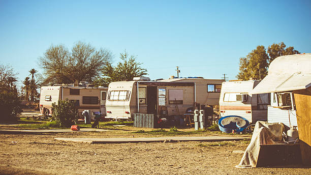 Trailer park scene. Trailer park scene. trailer park stock pictures, royalty-free photos & images