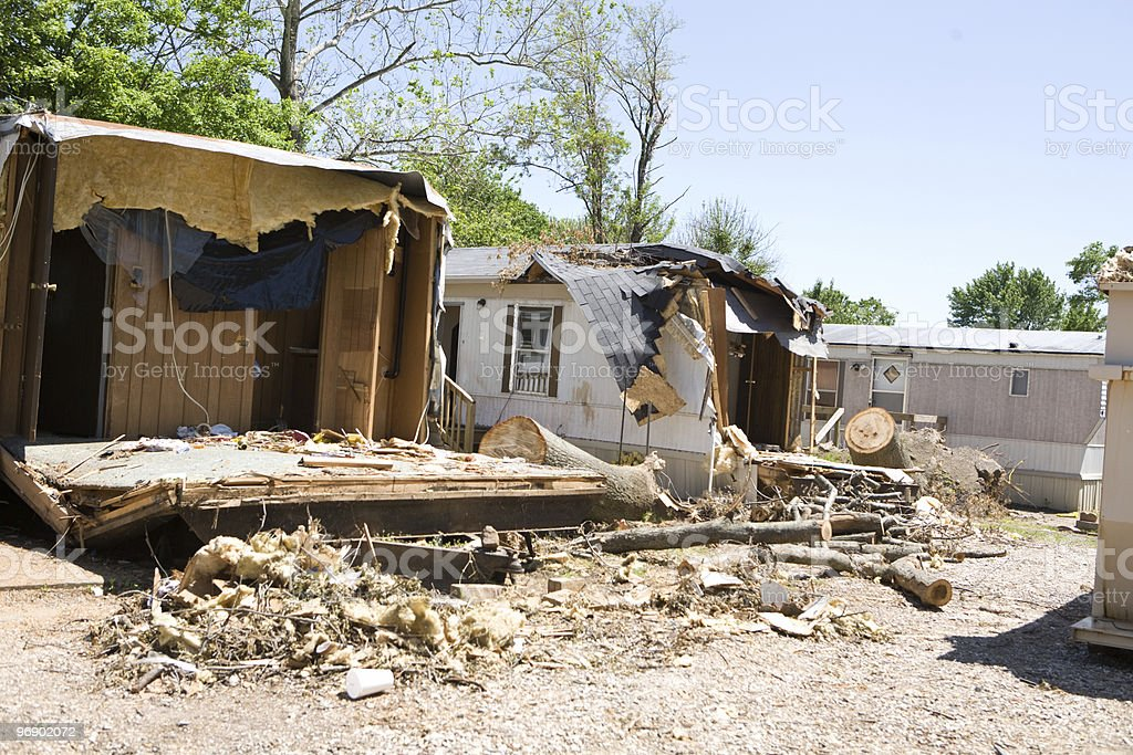 Trailer Park Tornado Damage royalty-free stock photo