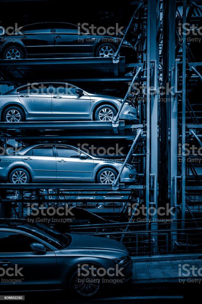 Trailer truck transporting new cars on the highway stock photo