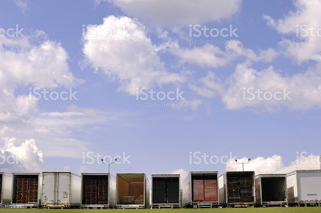 Trailers in a warehouse parking lot royalty-free stock photo