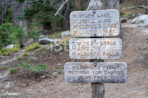 Trailhead signs for various hikes in the Bear Lake area of Rocky Mountain National Park