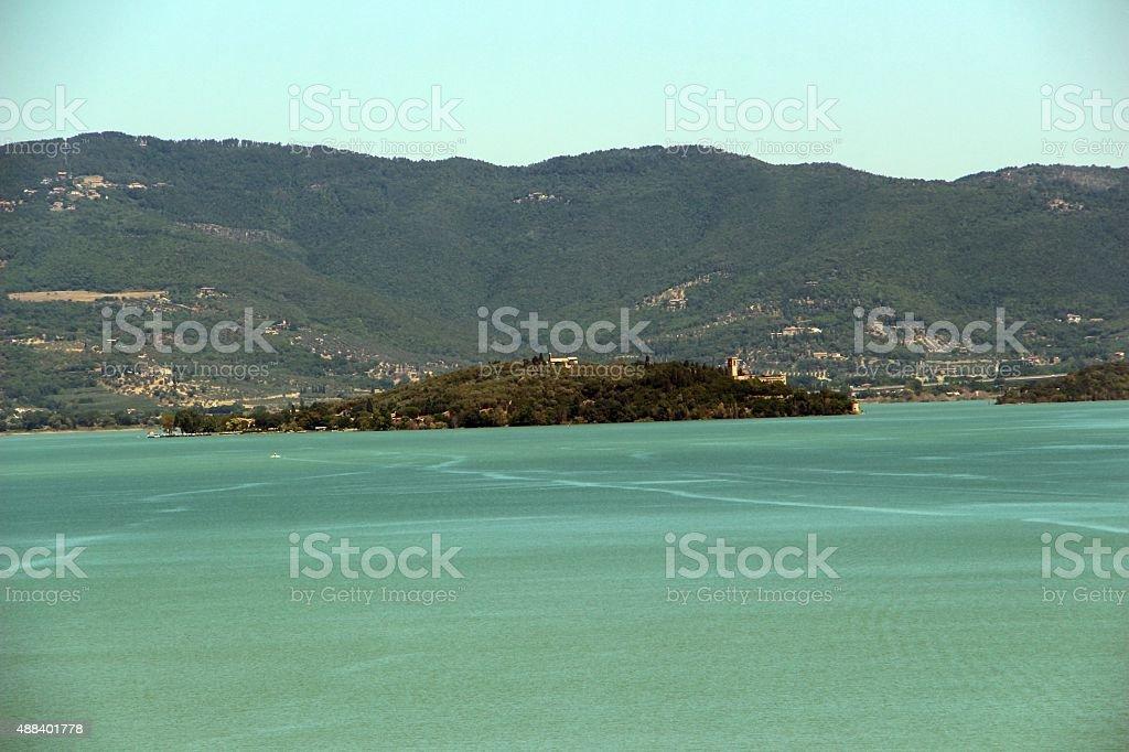 traimeno lake - isola maggiore stock photo