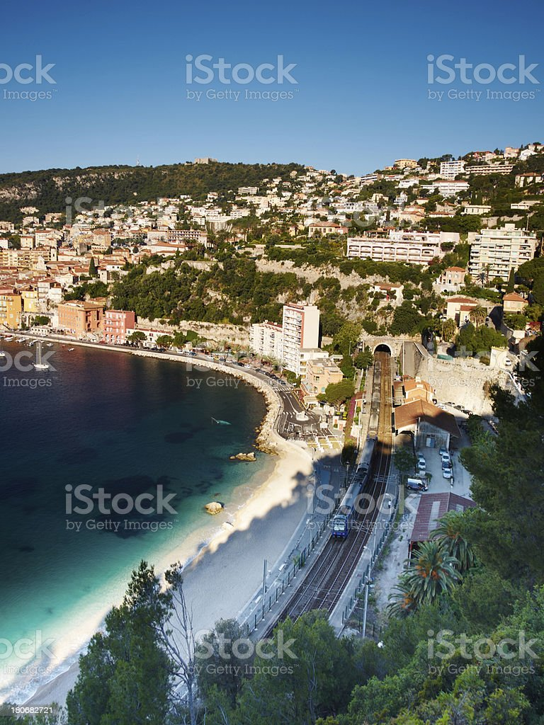 Train and Mediterranean Sea stock photo