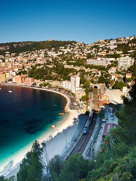 Train and Mediterranean Sea stock photo