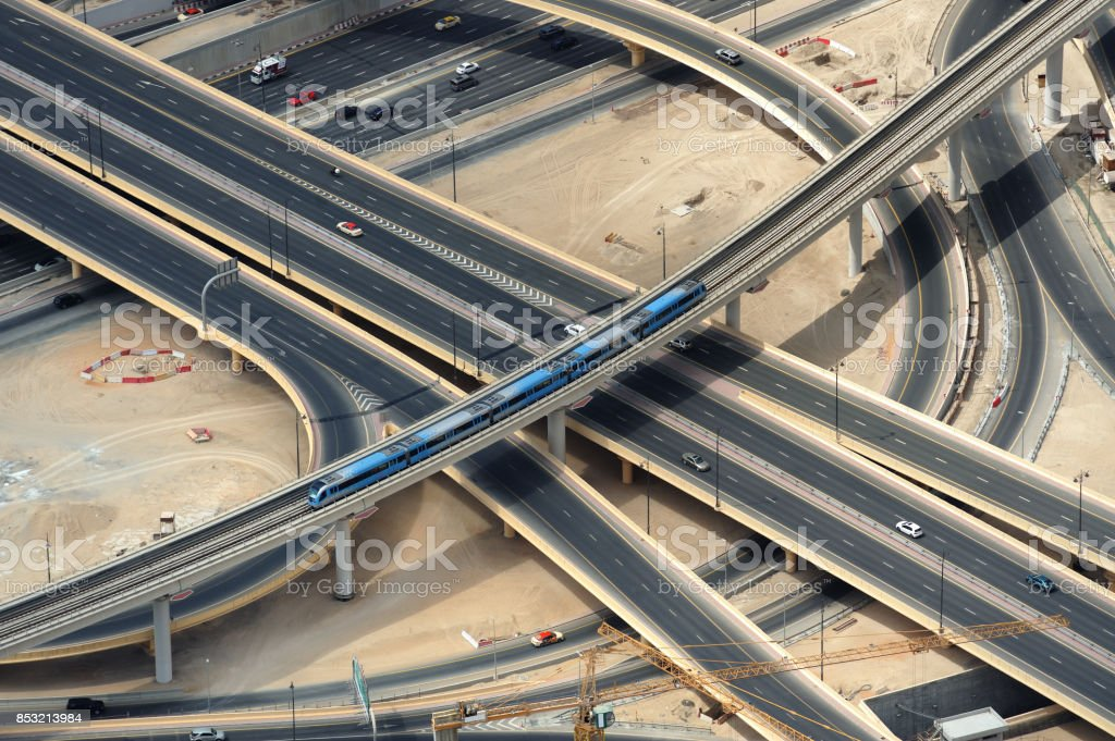 Train and road junction from above. stock photo