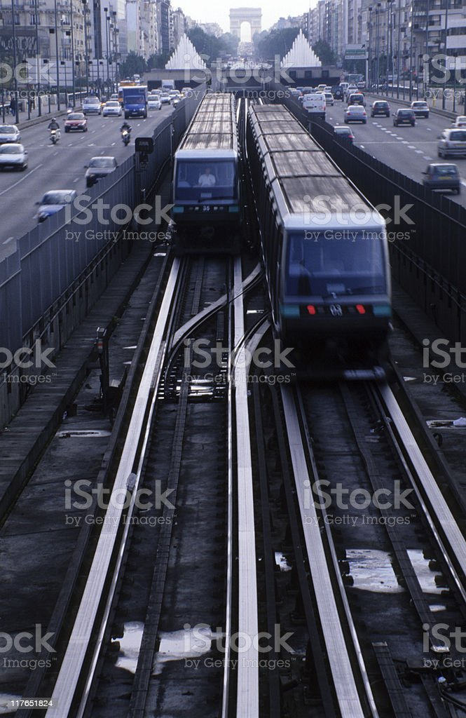 Train and traffic in Paris, France royalty-free stock photo