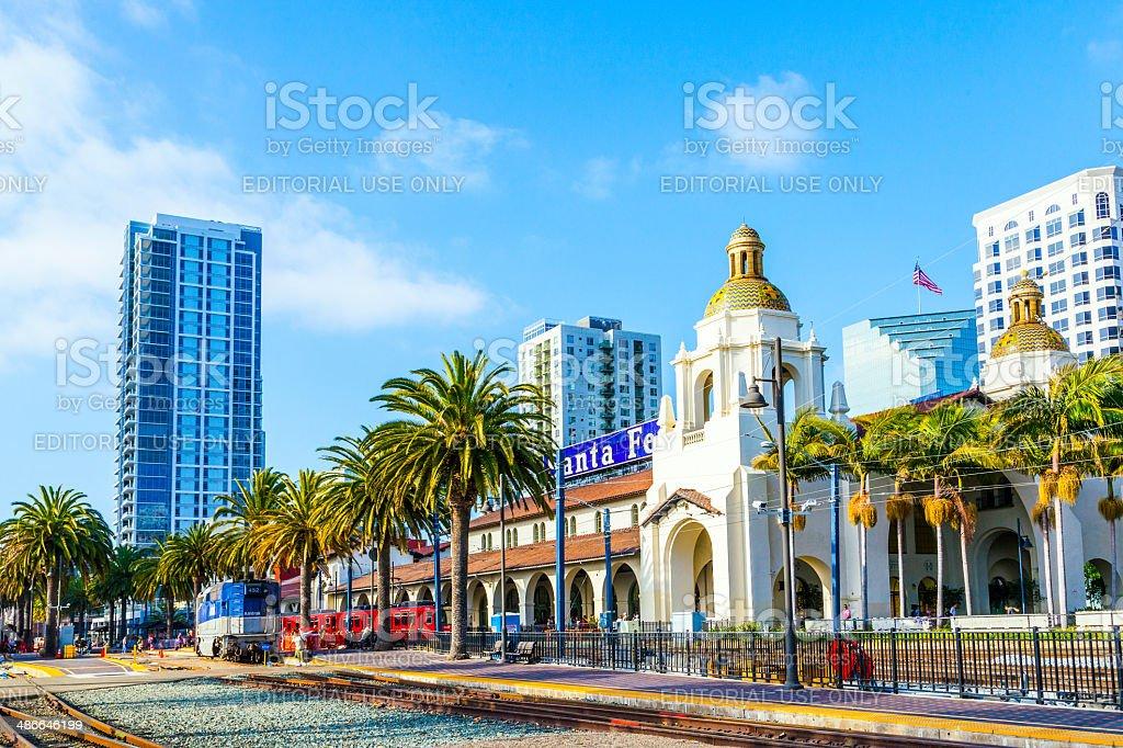 train arrives at Union Station in San Diego, USA stock photo