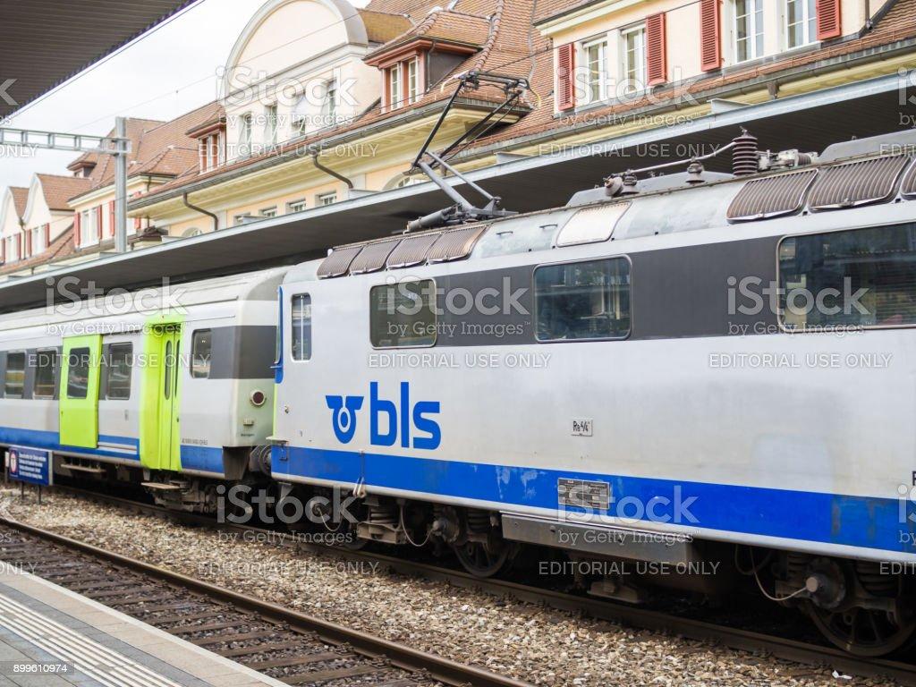 BLS train arrives to Zermatt train station. stock photo
