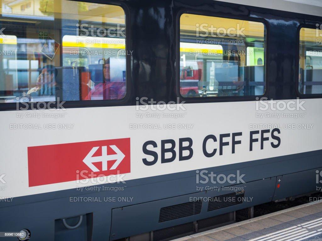 SBB CFF FFS train arrives to Zermatt train station, Switzerland. stock photo