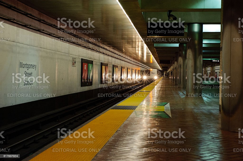 BART Train Arriving at Montgomery Station stock photo