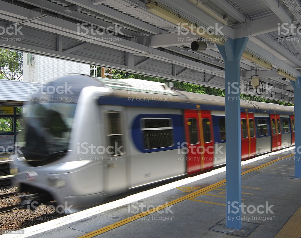 Train Arriving at Platform stock photo