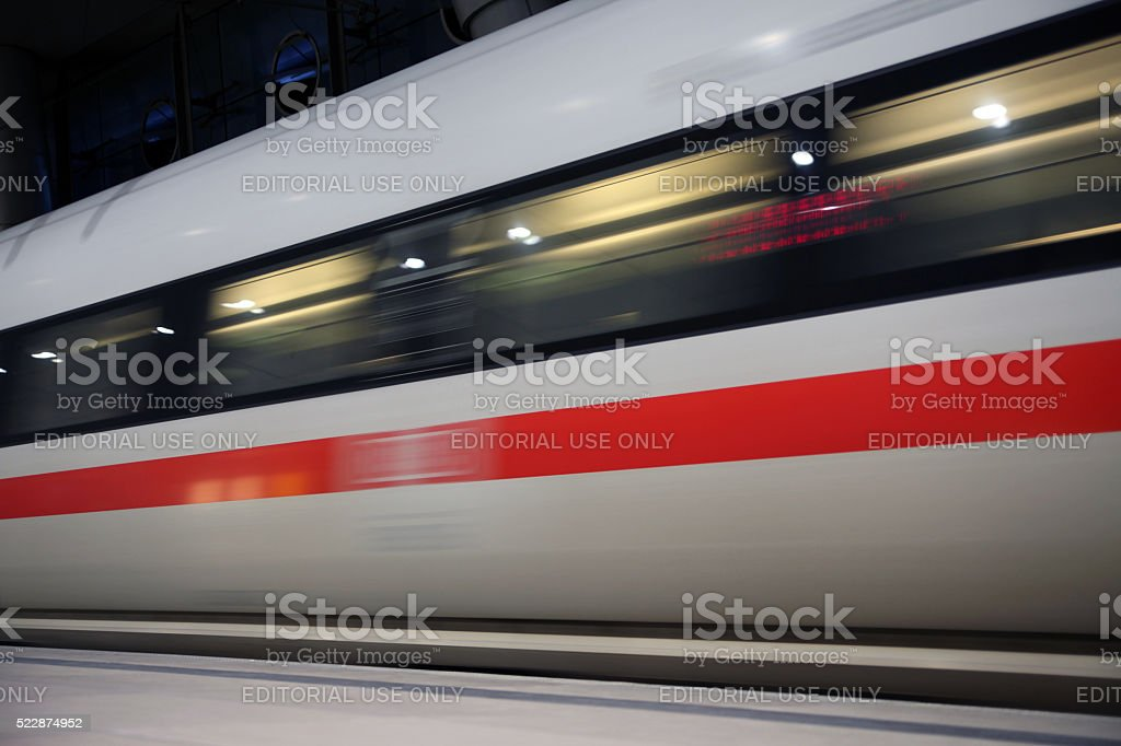 ICE Train arriving in Frankfurt Airport Station stock photo