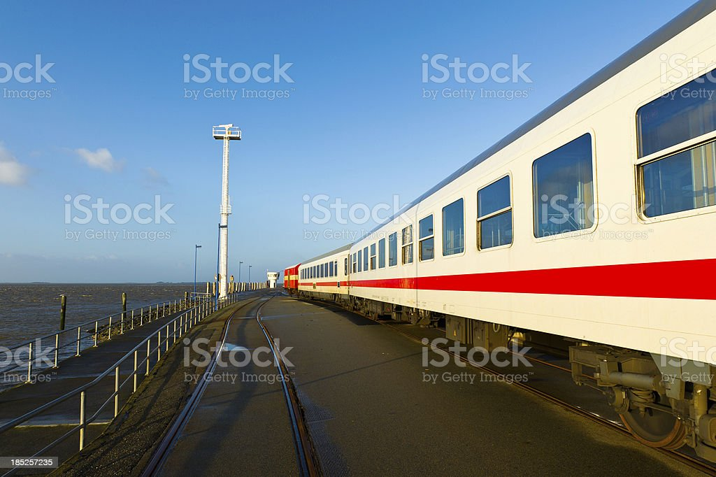 Train at Dagebuehl Ferry Terminal stock photo