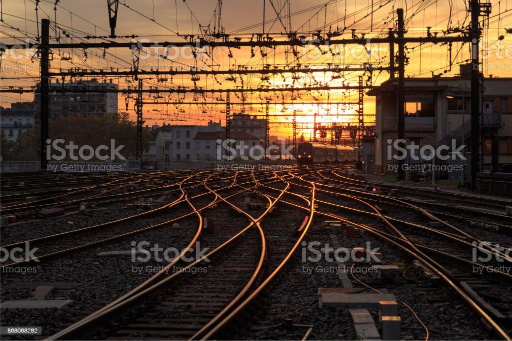 Train at dusk stock photo