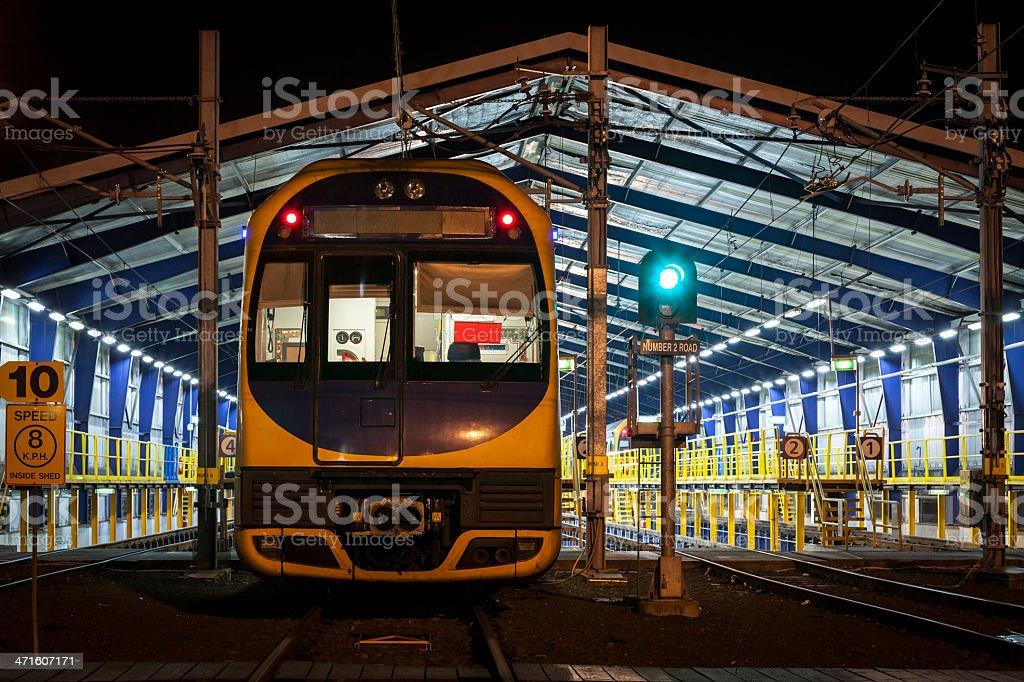 Train at night stock photo