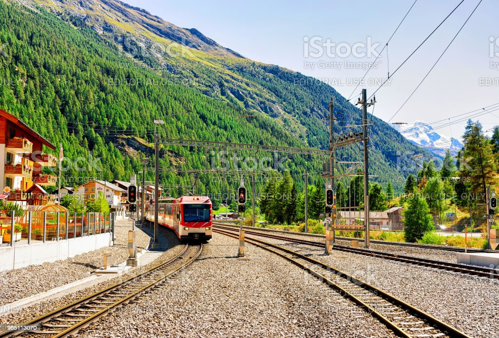 Train at Railway station in Zermatt Switzerland CH royalty-free stock photo
