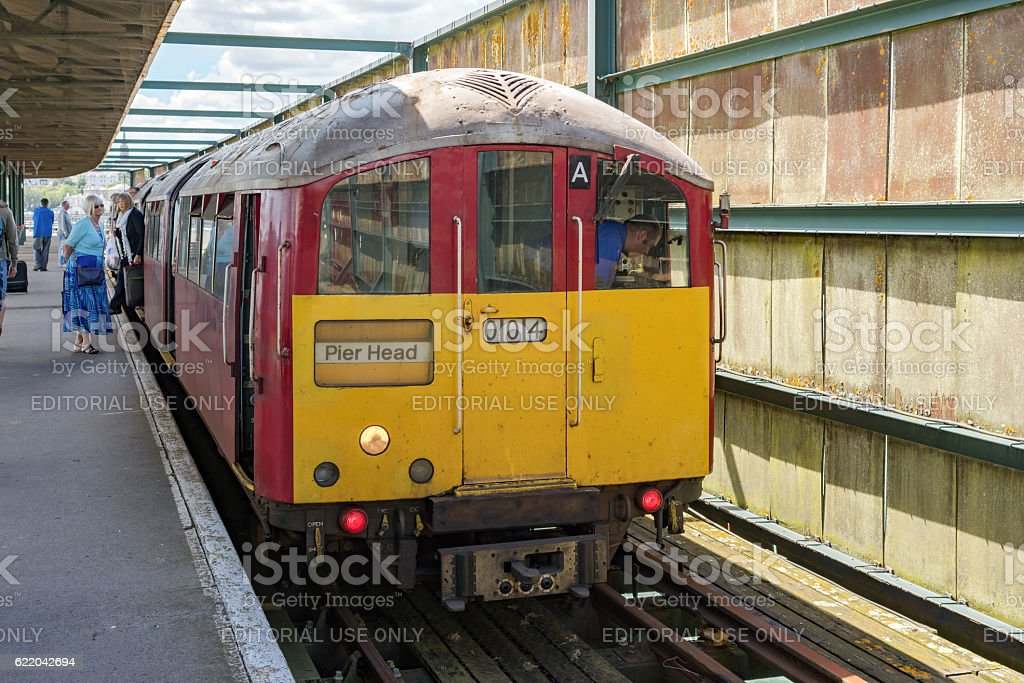 Train at Ryde Pier head on the Isle of Wight stock photo