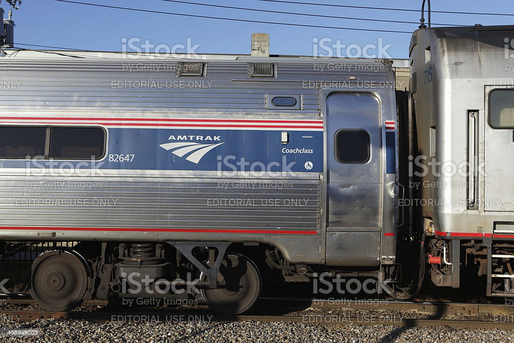 AMTRAK train at station in Rutland Vermont stock photo