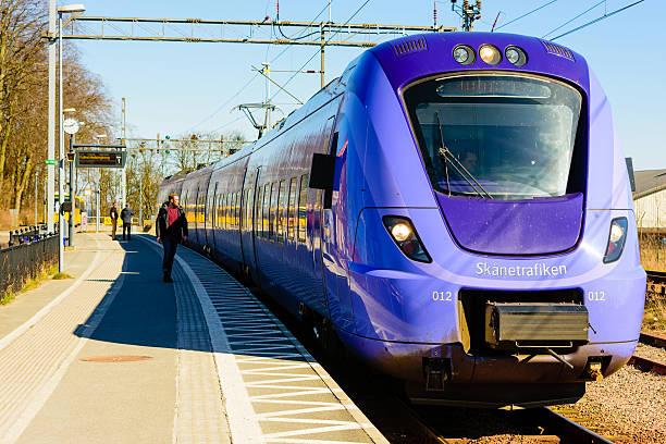train at the station - waiting for a train sweden bildbanksfoton och bilder