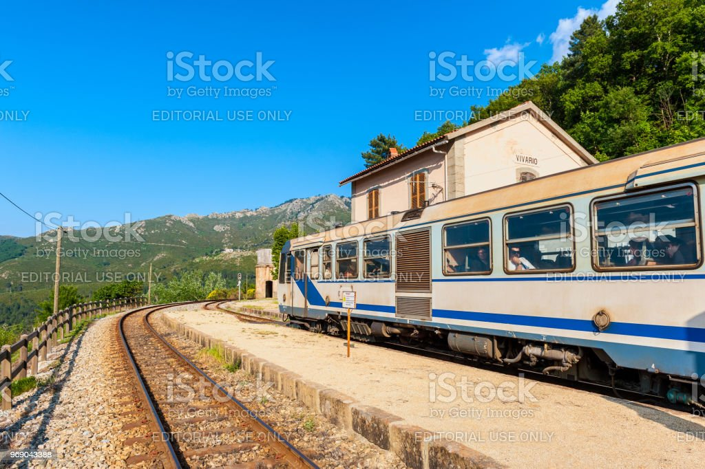 Train at Vivario Station in Corsica France stock photo