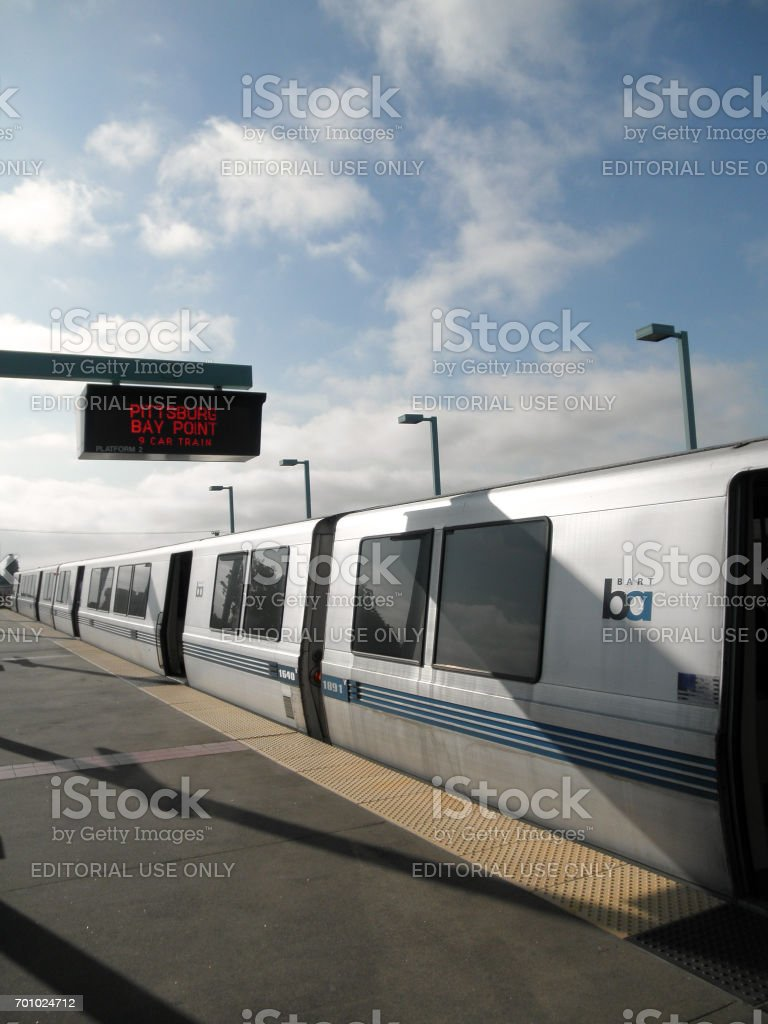 BART Train at West Oakland Station stock photo